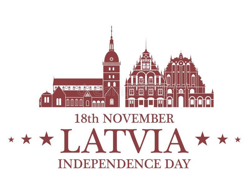 背景日减速火箭grunge的独立 拉脱维亚 向量例证