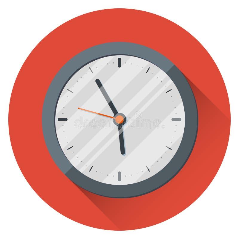 背景时钟查出在墙壁白色 17:55 五分钟到六 工作日的结尾 在橙色背景 皇族释放例证