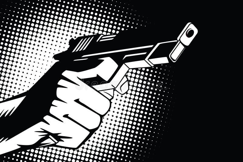 背景明亮的例证桔子股票 人的手仿照流行艺术和老漫画样式的 武器在手中和射击的声音 库存例证