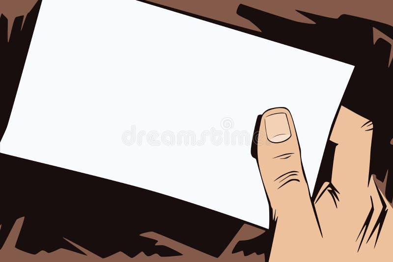 背景明亮的例证桔子股票 人的手仿照流行艺术和老漫画样式的 空白的纸片您的消息的在man 皇族释放例证