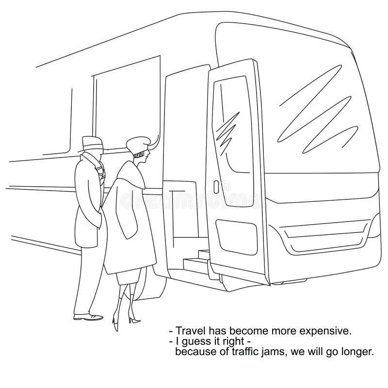 背景明亮的例证桔子股票 关于车费和交通堵塞的讽刺画 皇族释放例证