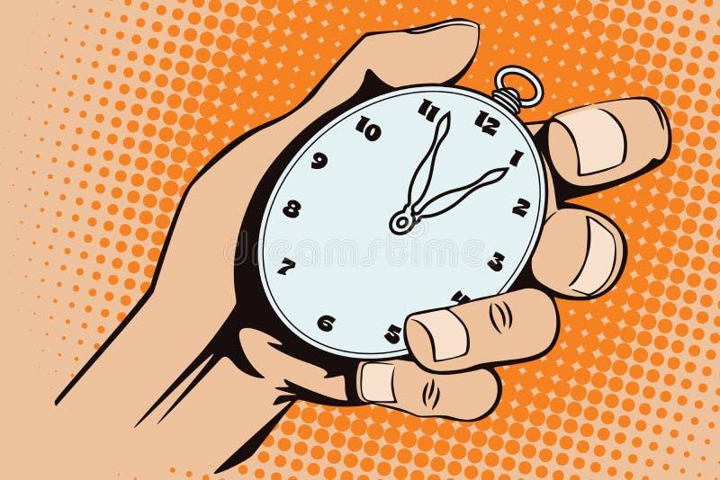 背景明亮的例证桔子股票 流行艺术和老漫画样式  手表在手中 向量例证