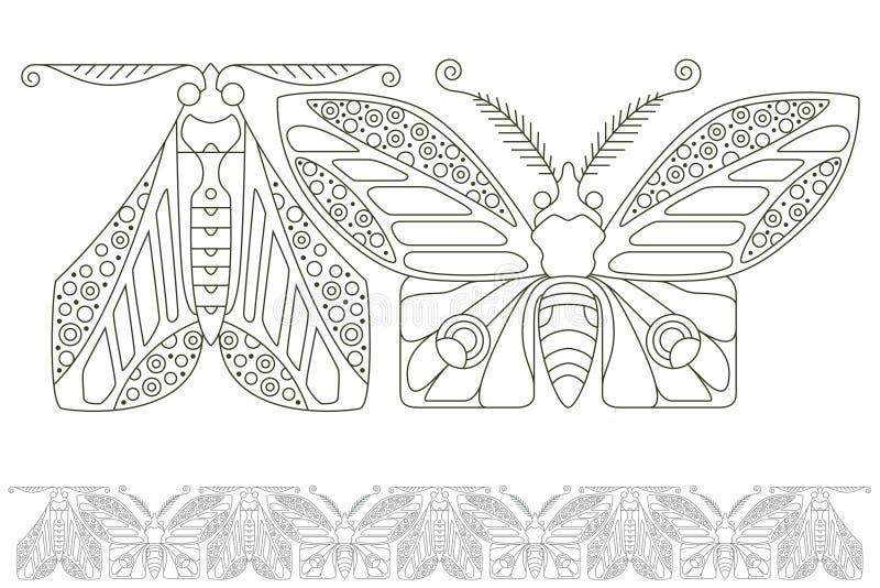 背景明亮的例证桔子股票 细线蝴蝶  无缝的模式 皇族释放例证