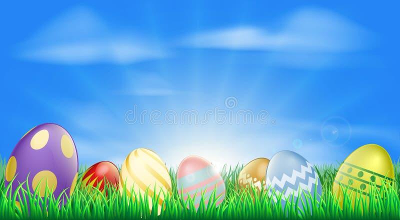 背景明亮的复活节彩蛋 向量例证
