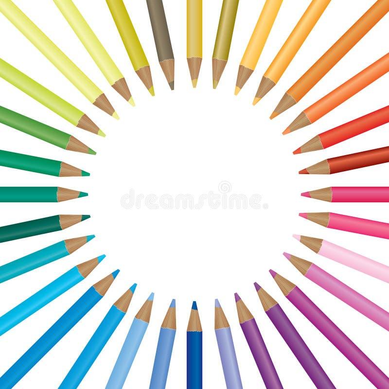 背景明亮的色的铅笔 皇族释放例证