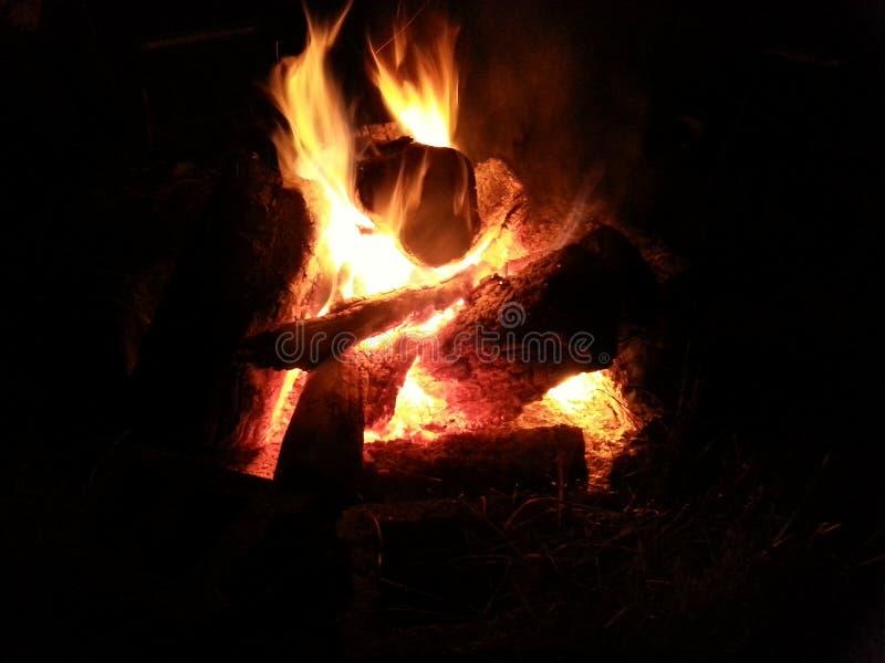 背景昏暗的火晚上 库存照片