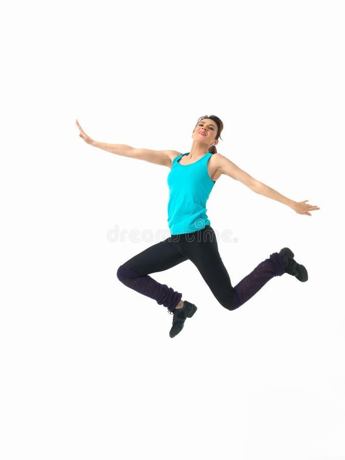 背景显示白人妇女的健身程序 库存图片