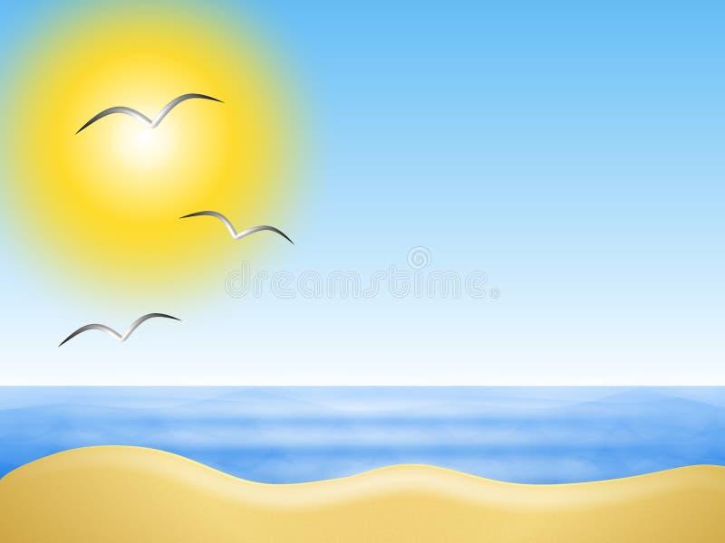 背景晴朗海滩的夏天 库存例证