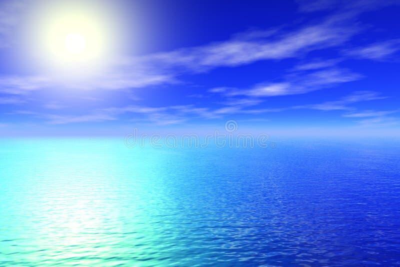 背景晴朗海运的天空 向量例证