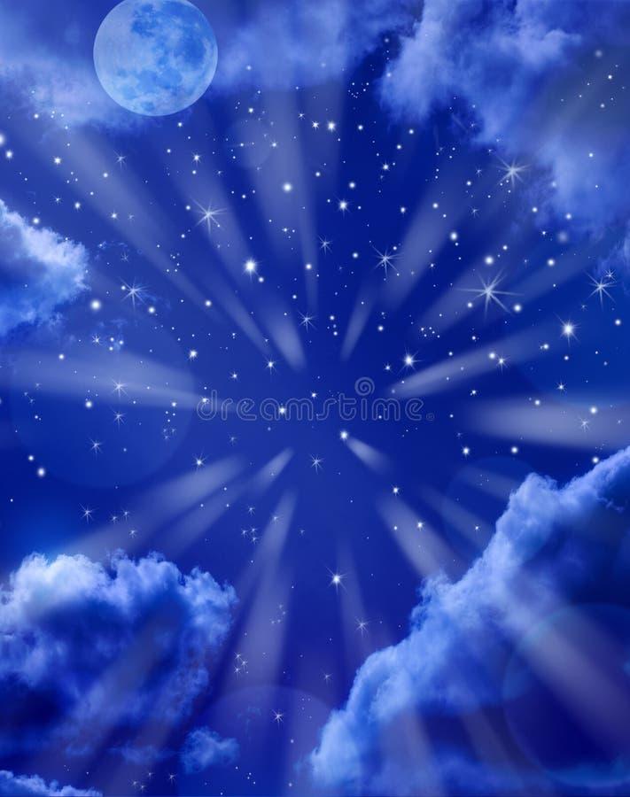 背景月亮天空星形 皇族释放例证