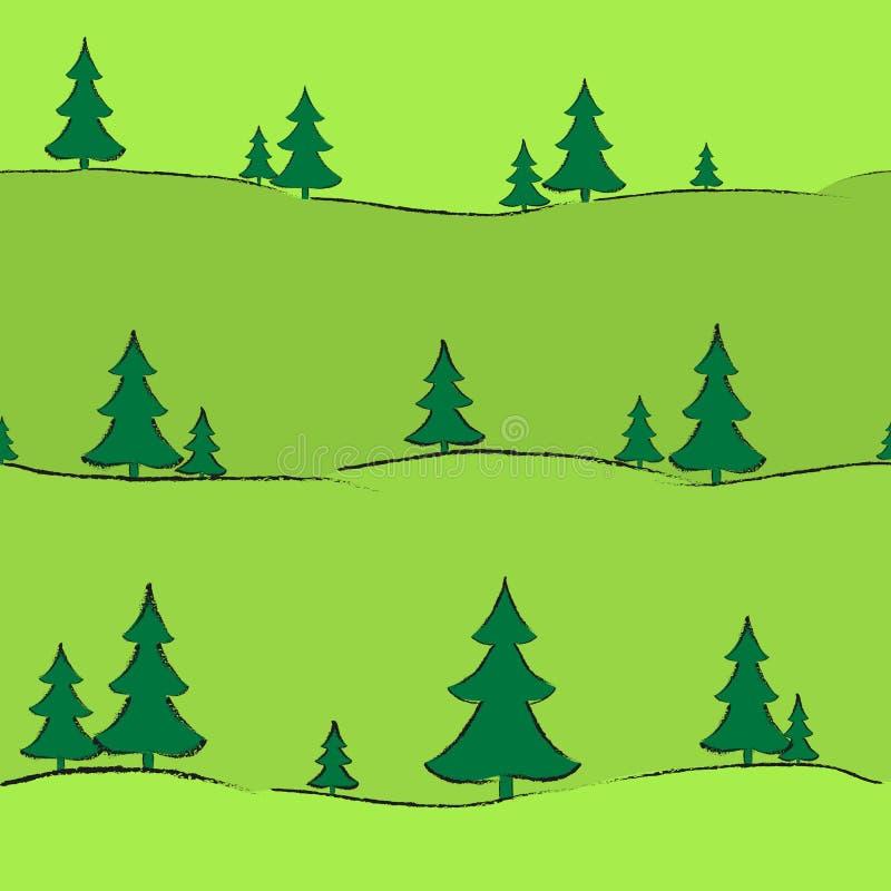 背景有横幅卡片墙纸盖子无缝的样式画的树的冷杉木手拉的创造性的现代背景 皇族释放例证