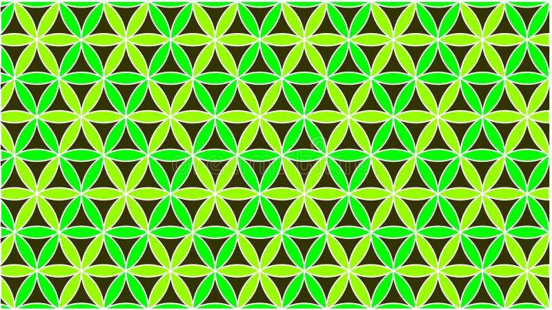背景有色环在绿色,并且他们被交织形成美好的形状 免版税库存照片