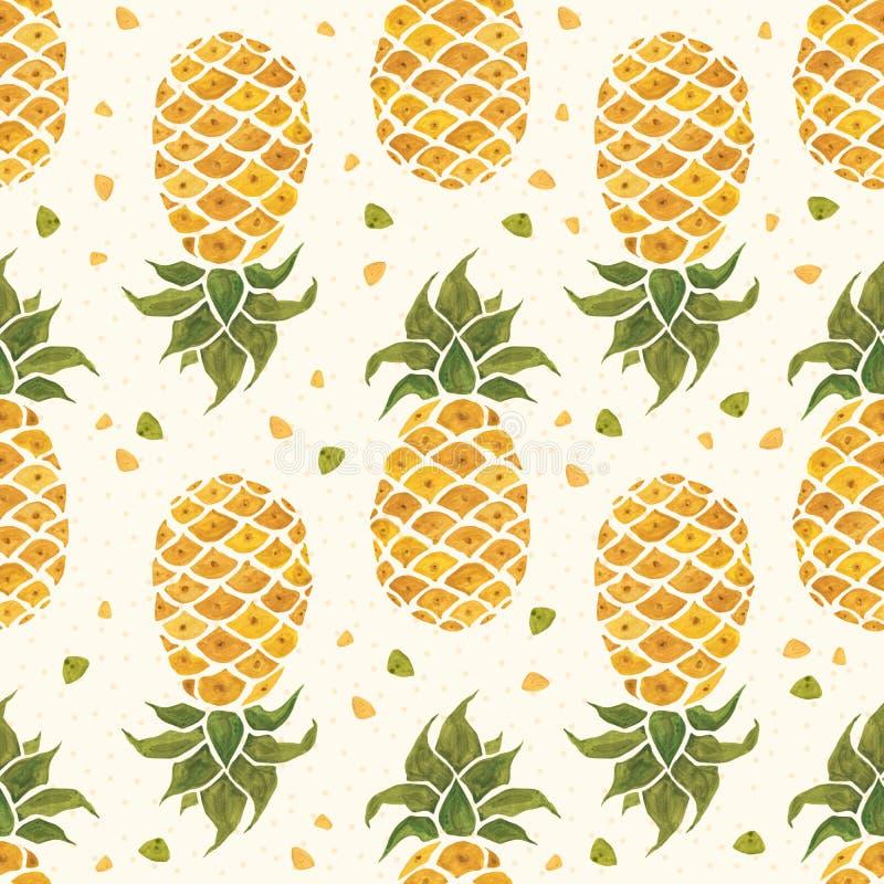 背景果皮菠萝 水彩无缝的样式 库存例证