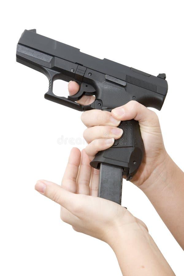 背景枪白色 免版税库存图片