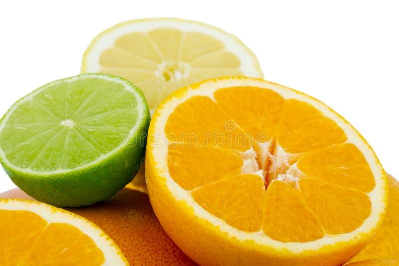 背景柑橘水果查出白色 库存照片