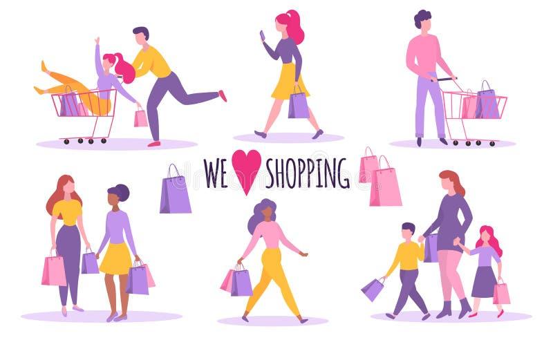 背景查出在人购物白色 查出 有购物带来和推车的愉快的人 平的样式 向量 皇族释放例证
