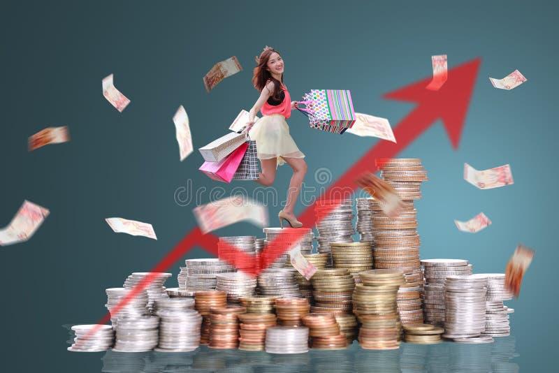 背景查出在购物白人妇女 免版税库存照片