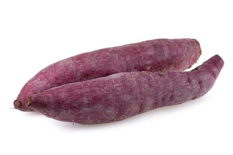 背景查出的土豆甜白色 库存照片