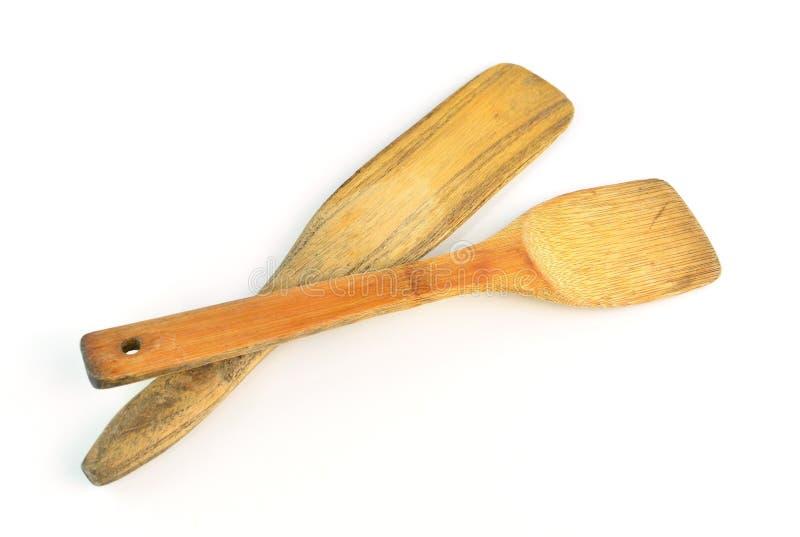 背景查出的杓子空白木 免版税库存图片