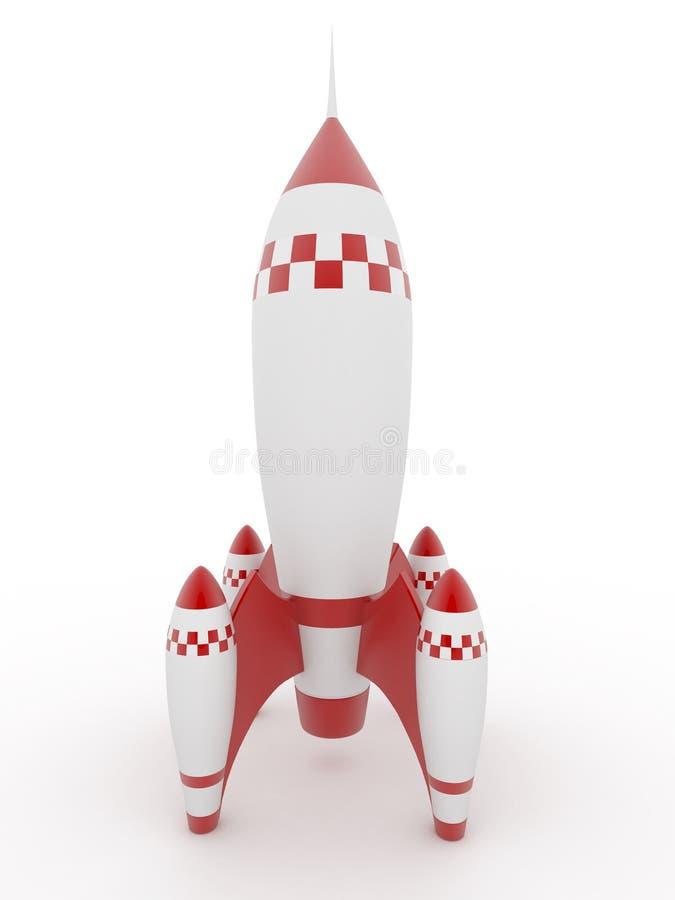 背景查出的模型火箭白色 库存例证