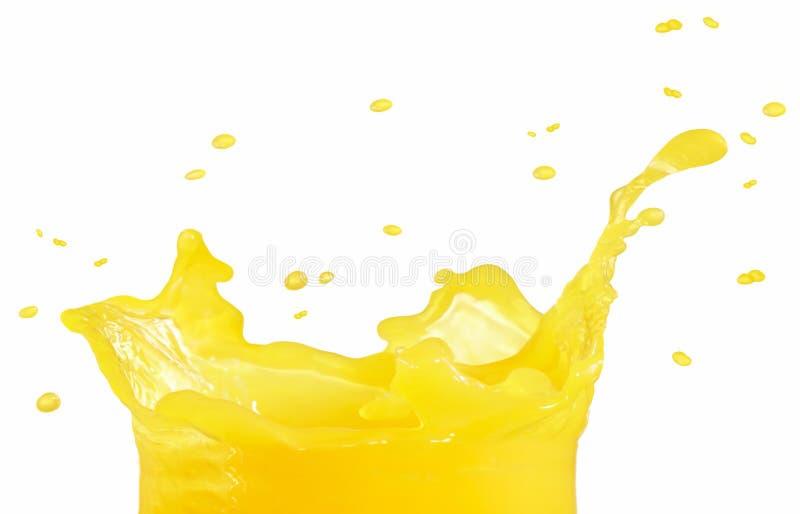 背景查出的汁液橙色飞溅白色 免版税库存照片
