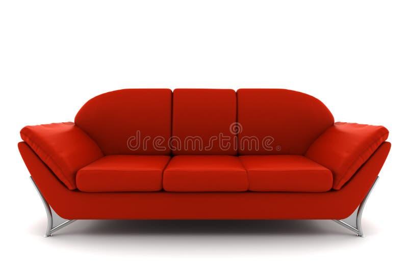 背景查出的皮革红色沙发白色 皇族释放例证