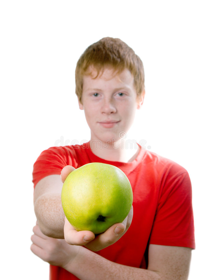 背景查出的红头发人少年白色 免版税库存图片