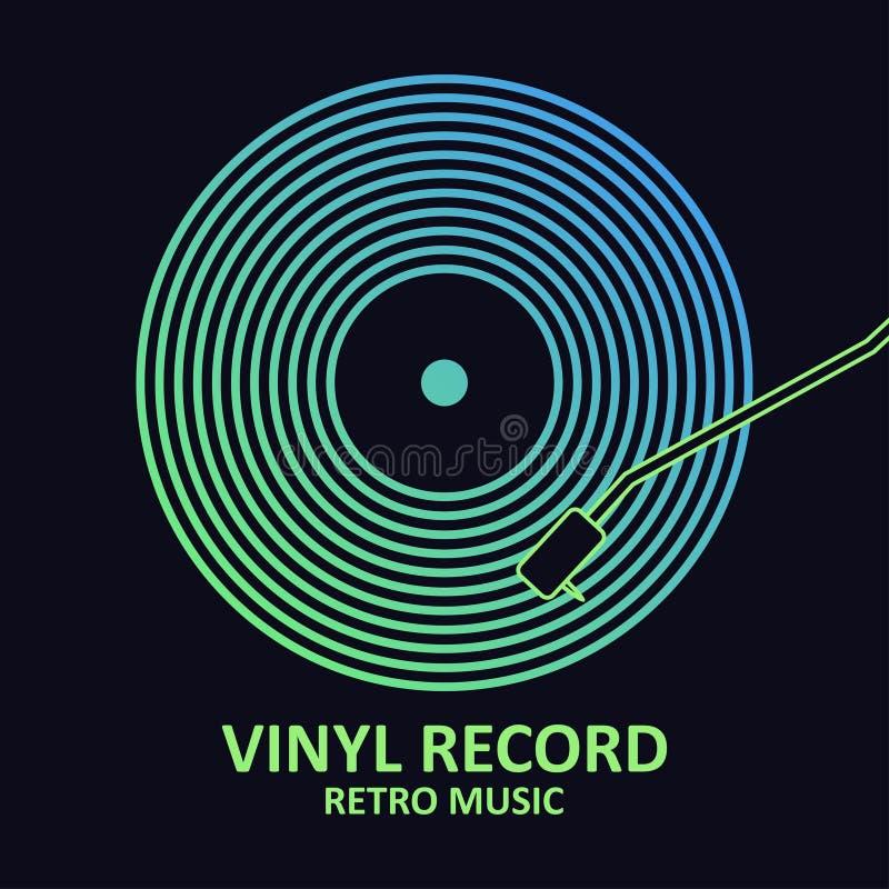 背景查出的记录乙烯基白色 与乙烯基圆盘的音乐海报 音乐盖子或商标的设计 向量 向量例证