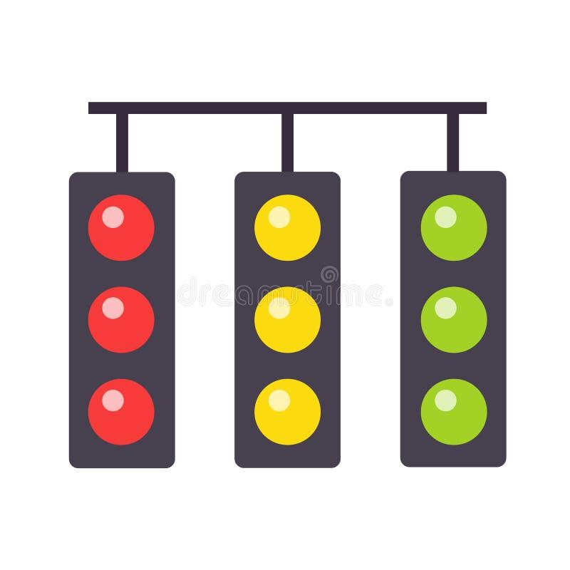 背景查出的轻的业务量白色 红绿灯接口象 红色,黄色和绿色 描述典型的horizont的象 皇族释放例证