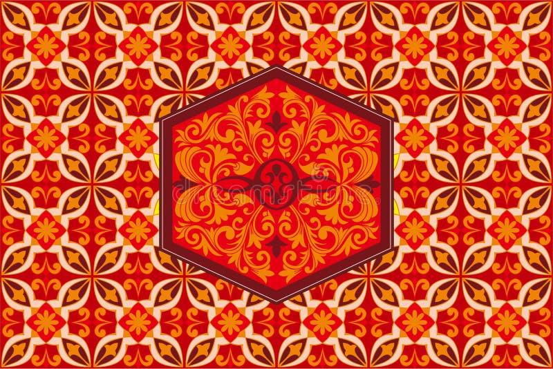 背景样式设计Kawung爪哇蜡染布装饰品印度尼西亚 库存例证