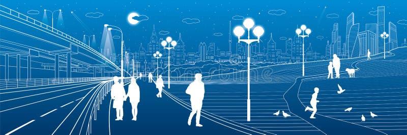 背景桥梁工程城市时钟连接前景法兰克福德国包括跨过街道结构的使并列的现代缩小的老部分步行场面摩天大楼耸立二 汽车互换 沿边路的人步行 晚上公园 孩子使用 背景的现代夜镇 Vect 向量例证
