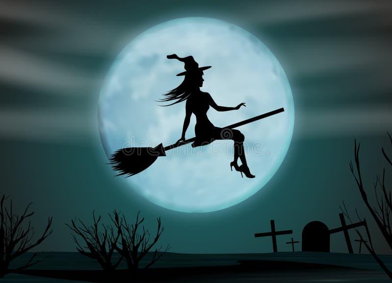 背景棒万圣节月光附注 在一个帚柄的年轻巫婆飞行在满月的背景在公墓上的 向量 皇族释放例证