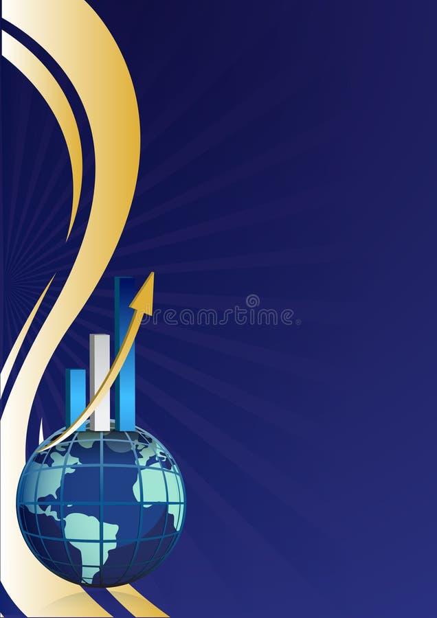背景棒企业全球图形增长 皇族释放例证