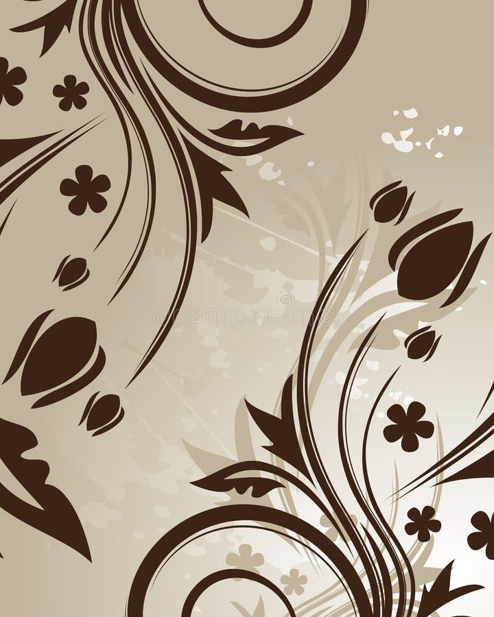 背景棕色花卉 皇族释放例证