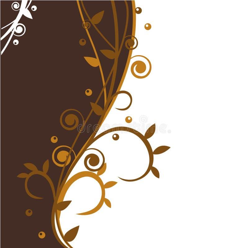 背景棕色花卉 库存例证
