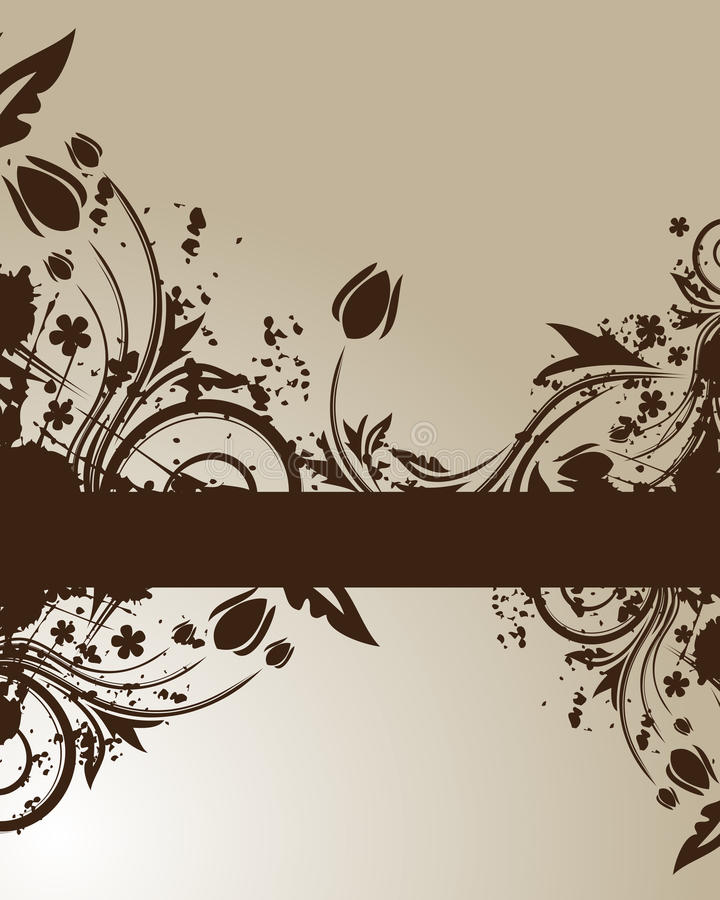 背景棕色花卉 向量例证