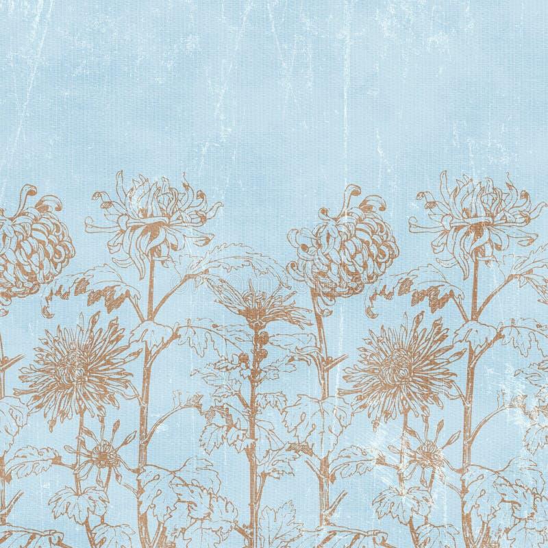 背景植物的florals纸葡萄酒 向量例证