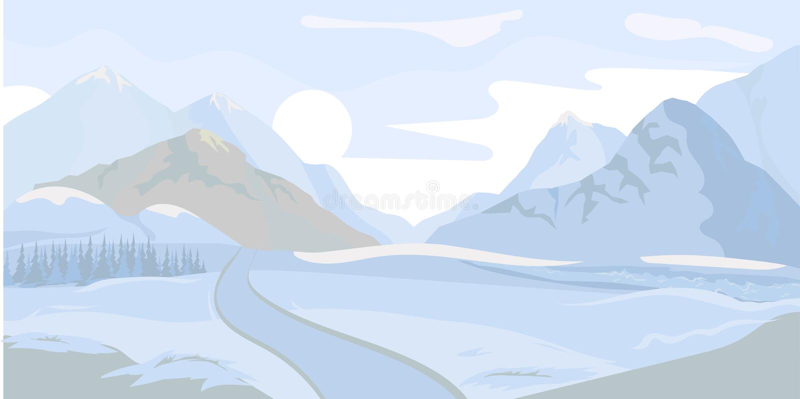 背景横向山西班牙白色冬天 向量 库存例证