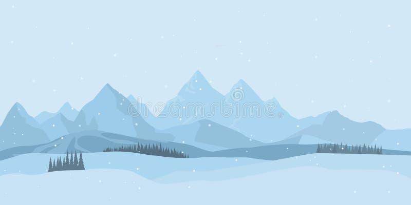 背景横向山西班牙白色冬天 向量 向量例证