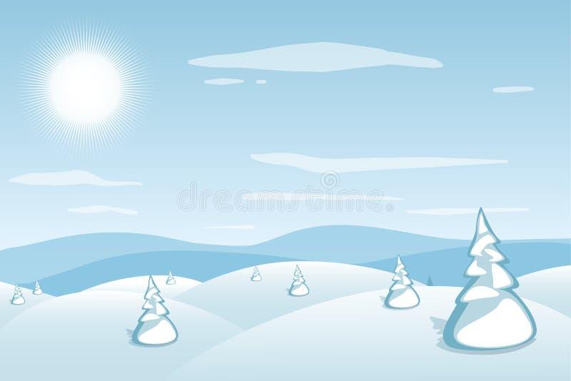 背景横向山西班牙白色冬天 蓝色山多雪的小山和杉木在前景 冷淡的晴天 圣诞节新年度 库存例证