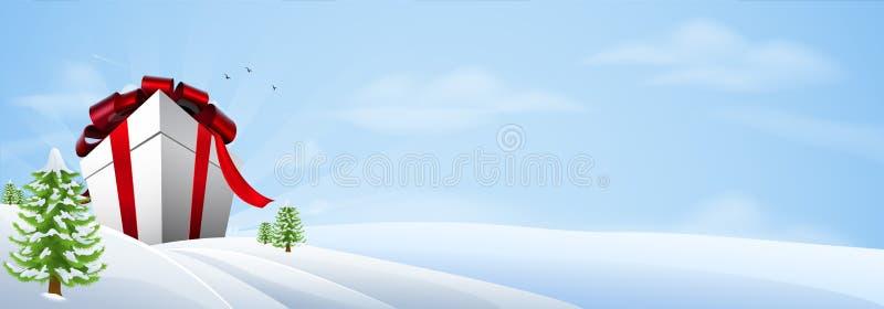 背景横幅圣诞节巨人礼品 向量例证