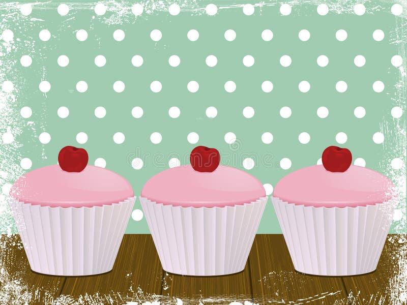 背景樱桃杯形蛋糕 皇族释放例证