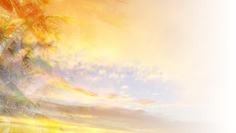 背景橙色热带 皇族释放例证