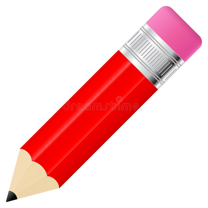 背景橡皮擦查出的铅笔红色白色 向量例证
