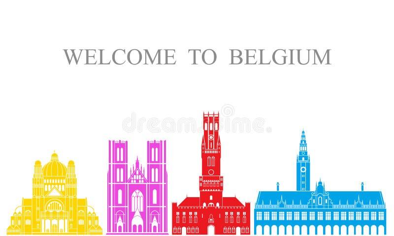 背景比利时边界国家(地区)详述标志图标查出的区域集合形状白色 在白色背景的被隔绝的比利时建筑学 皇族释放例证