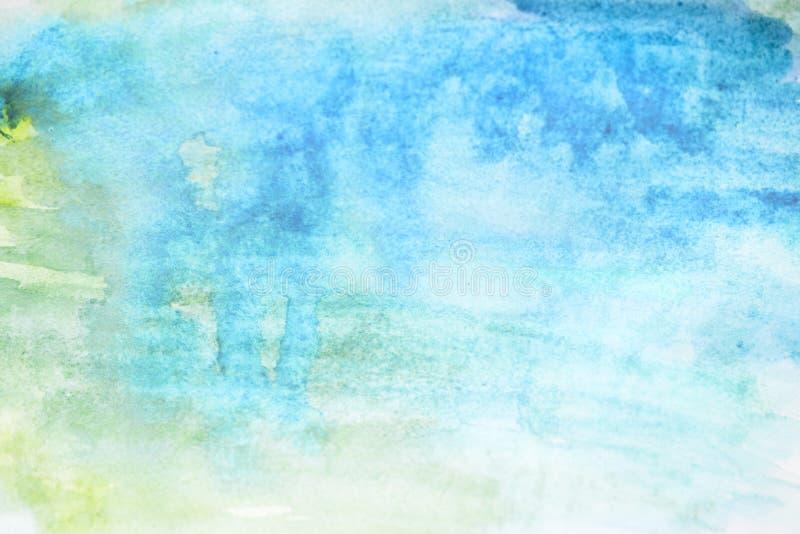 背景水彩、蓝色和绿色 抽象背景计算机生成的图象纹理 免版税库存图片
