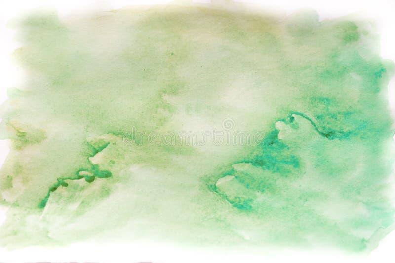 背景水彩、蓝色和绿色 抽象背景计算机生成的图象纹理 免版税库存照片