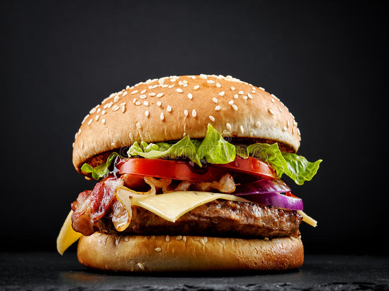 背景汉堡dof新低鲜美白色 免版税图库摄影