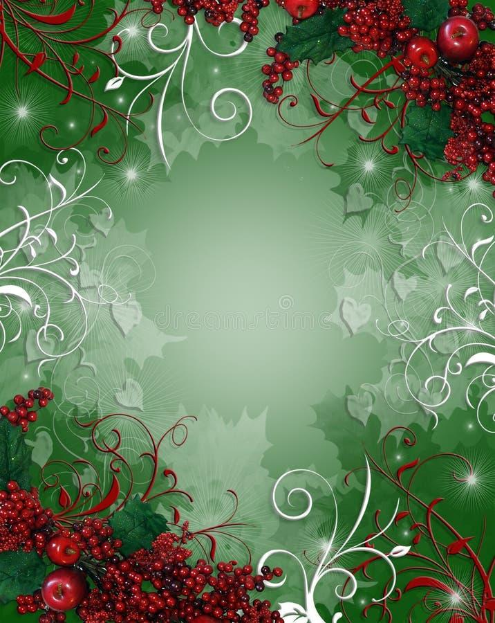 背景浆果毗邻圣诞节霍莉 库存例证