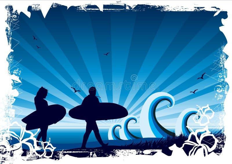 背景海浪 向量例证